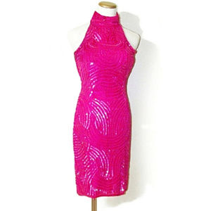 Hot Pink Mock Neck Halter Sequin Cocktail Dress